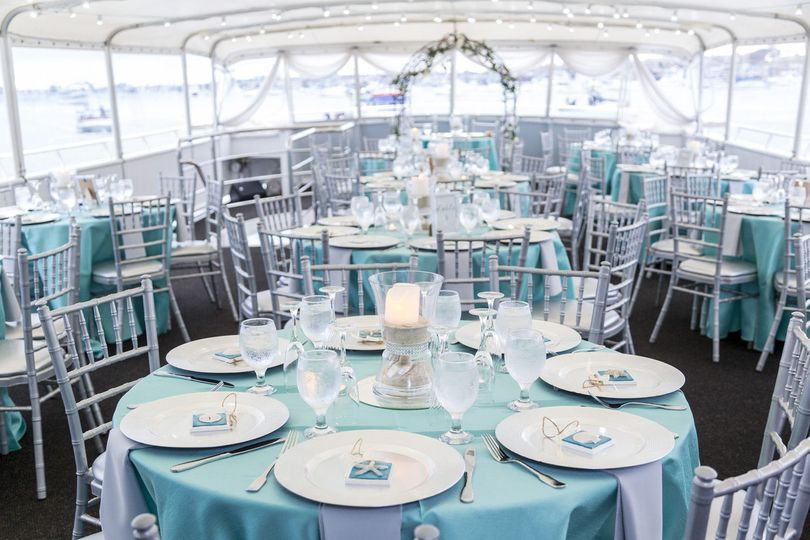 Daytime wedding reception aboard the  Yacht ICON