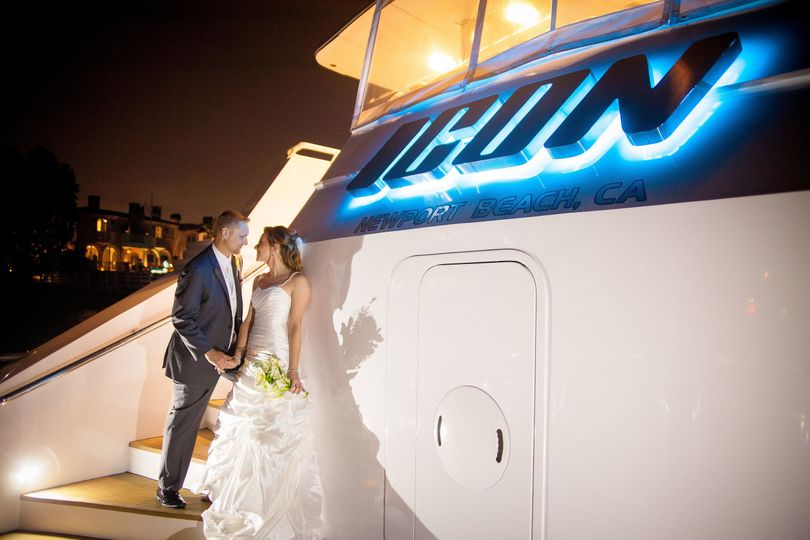 Beautiful photo of Bride and Groom on the stern of yacht ICON