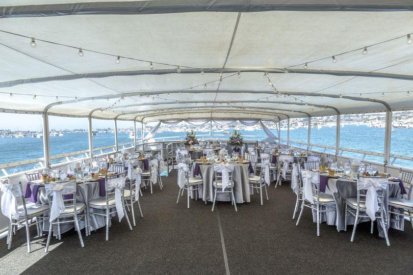 Daytime reception setup on yacht ICON