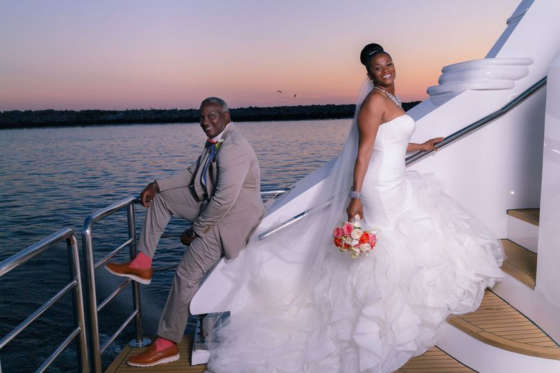 Bride and Groom having fun on the ICON during Sunset.