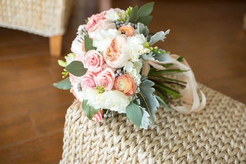 Bouquet of white, pink and orange flowers