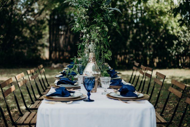 Garden reception and blue tableware