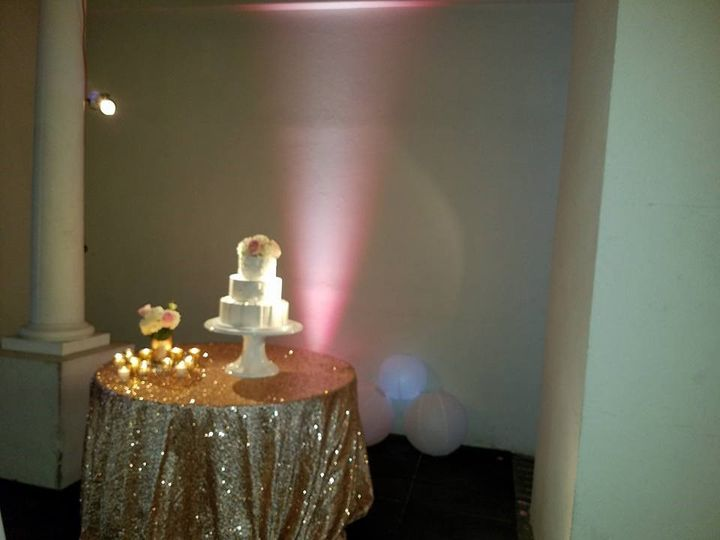 Uplights and pin spot cake