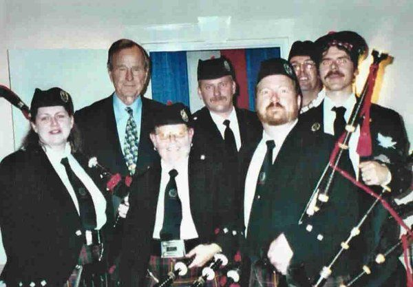 BFAO pipers play for former President George >H< Bush