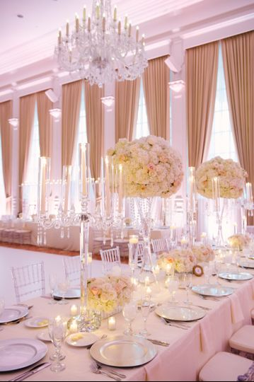 Indoor table setup with flowers