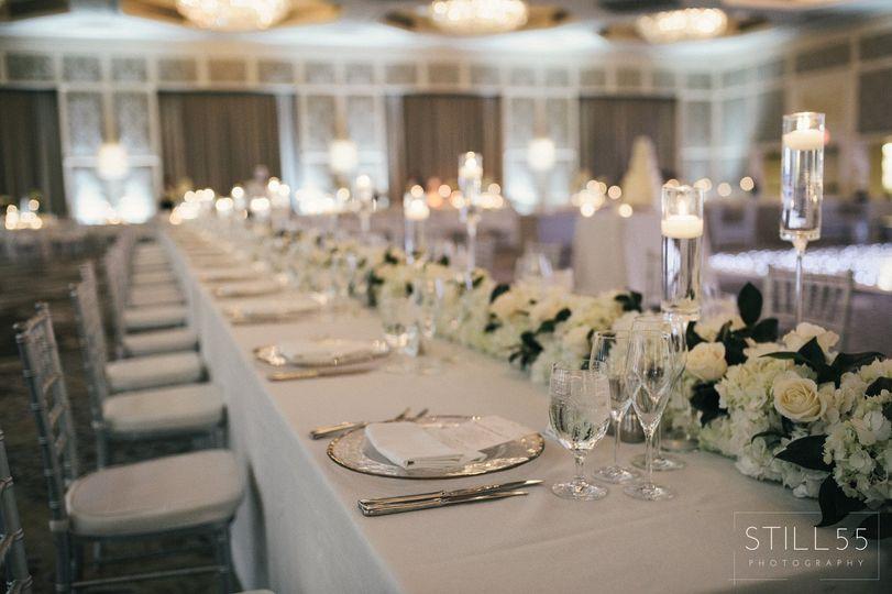 Long white table setup