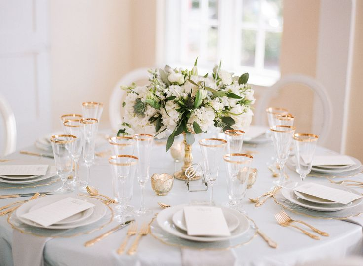 Soft table setup with centerpiece