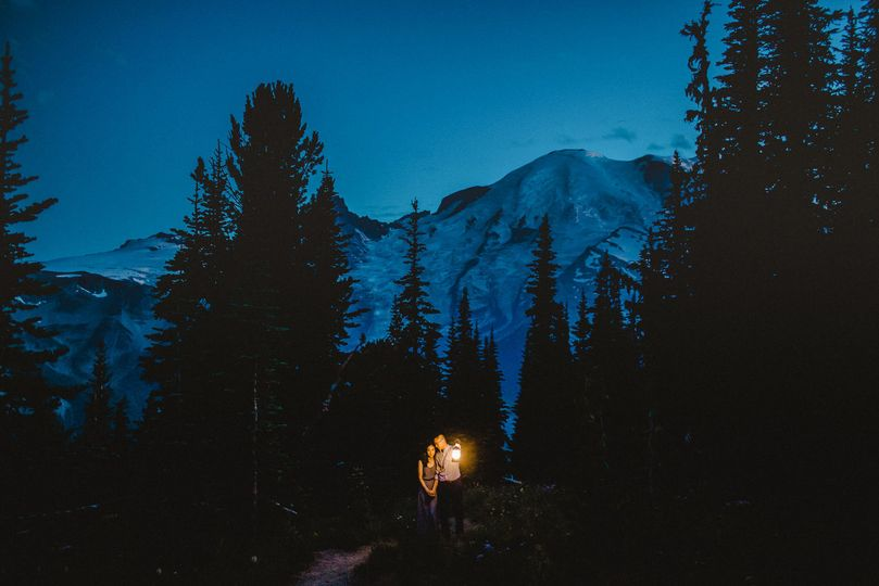 Twilight during an Adventure Engagement session on Mt. Rainier.
