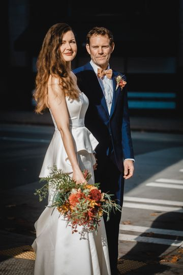 A well dressed couple during their downtown Seattle wedding.