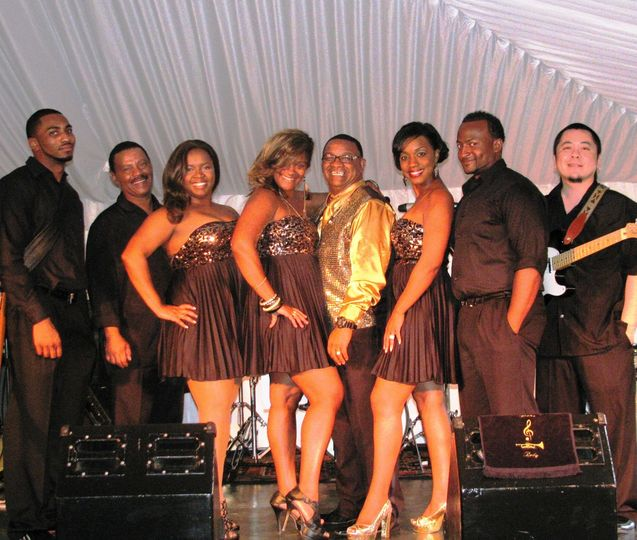 The wedding band on stage