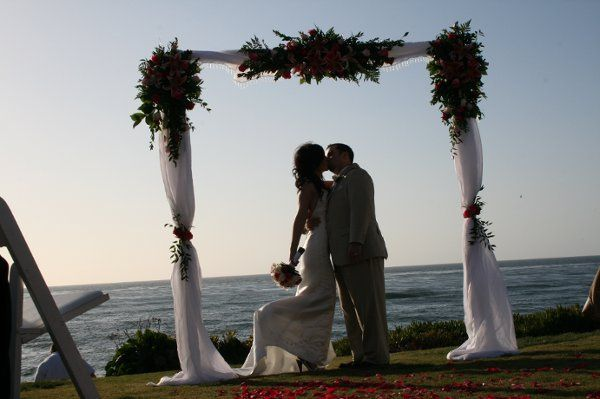 """Arc de Belle's Fully draped square white wedding arch """" The New England Square""""  Available Los..."""