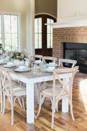 Simple long white table setup