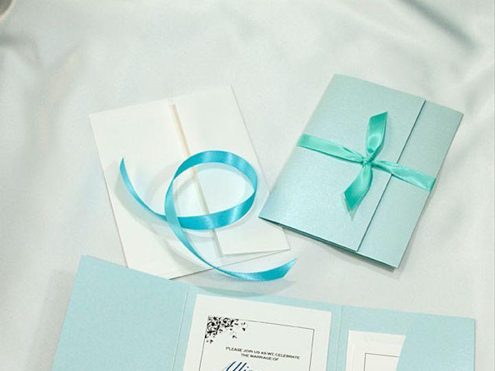 Tmx 1415217213930 Pocket Folder Invitation Aqua Shimmer Boulder wedding invitation