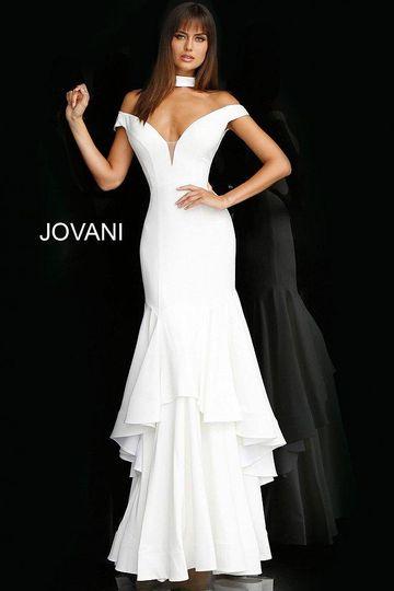 Ivory off-shoulder plunging neck gown