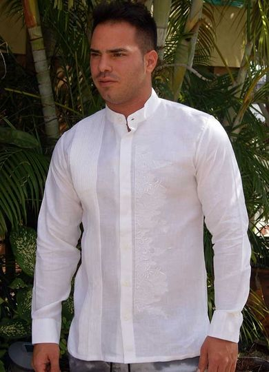 5dd15e07d9 Wedding embroidery shirt Mao collar linen wedding guayabera
