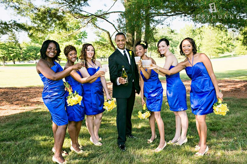Groom and the bridesmaids
