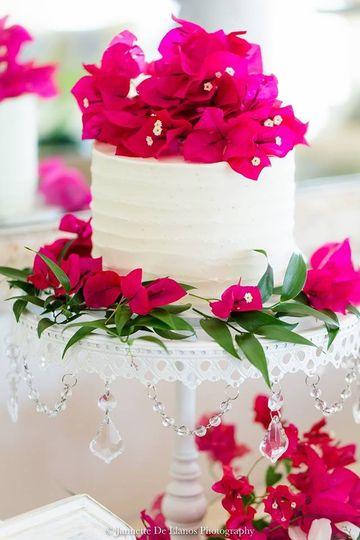 Hot pink bouganvillea cake