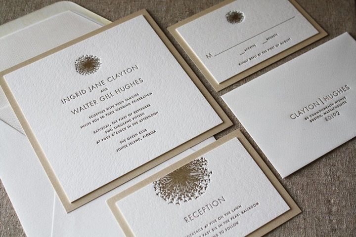 Letter press invitation suite