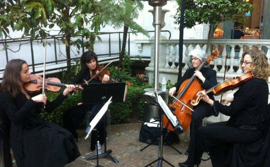 String quartet performing
