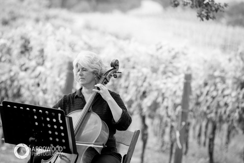 Black and white cellist