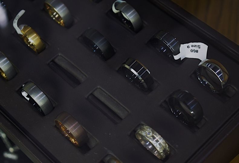Wide variety of wedding bands.
