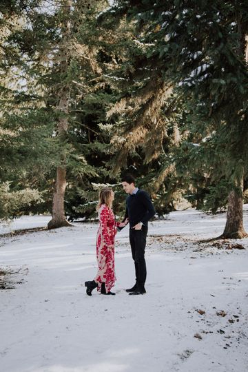 Winter elopement portait