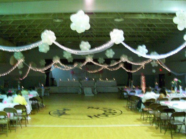 Cieling of Balloon Topiaries with Tulle and Lights