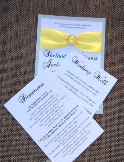 Yellow and silver wedding invitation