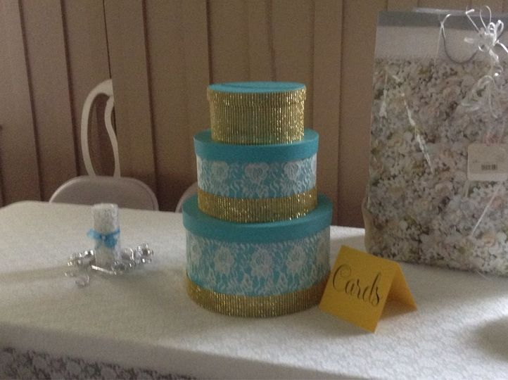 Turquoise and gold three tier card box