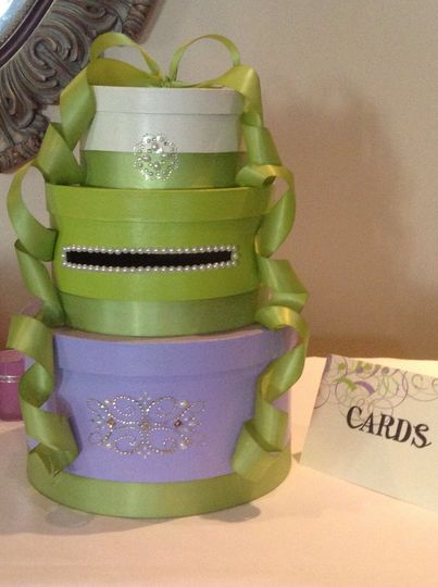 Purple and apple green three tier card box