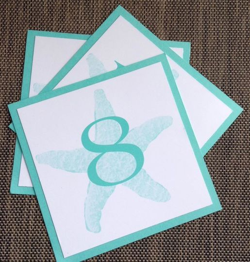 Turquoise beach themed table numbers