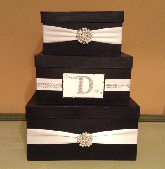 Three tier black and white card box with broach and initial