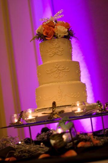 Candlelit Photo of Dragonfly Wedding Cake