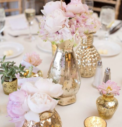 Gold and pink peonies