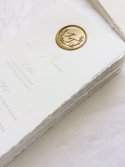 French gold foil wedding menu
