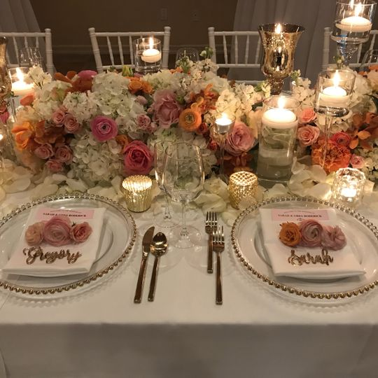 Bride & Groom place setting