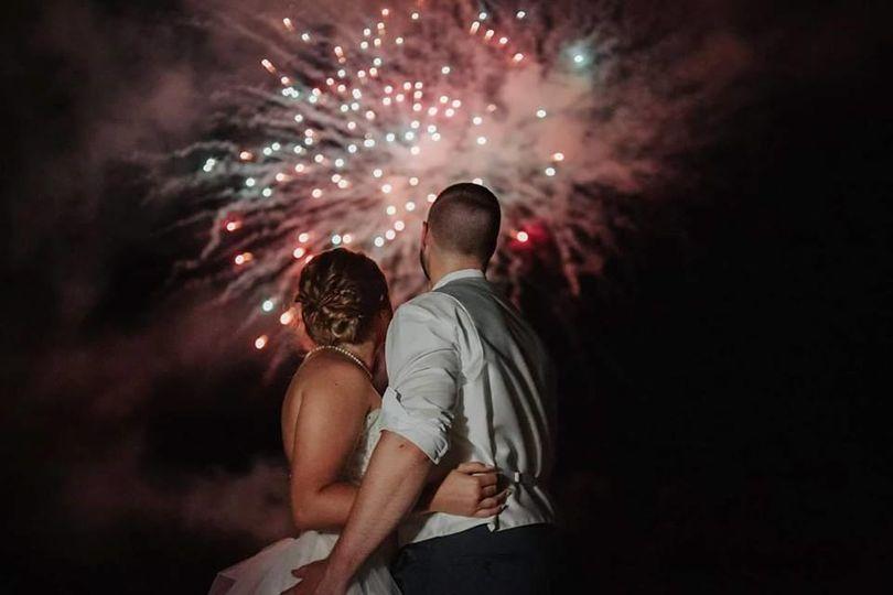 Newlyweds watching fireworks