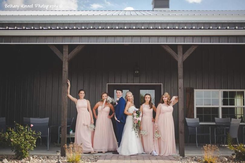 Bridal party on porch