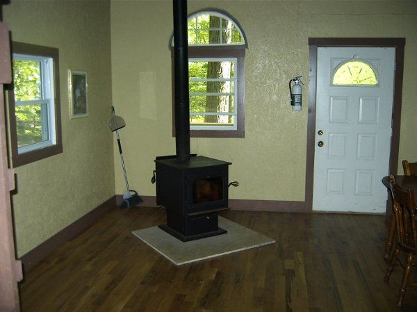 The wood stoves have glass in front so you can see the fire, a queen and a double and two single...