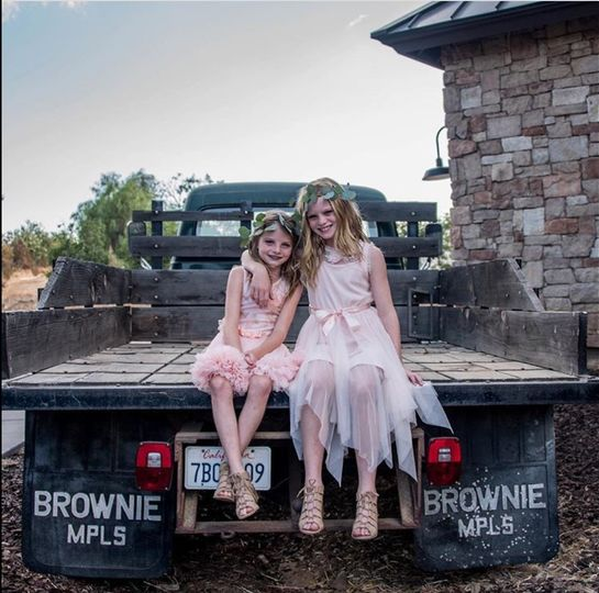 Classic truck and flower girls