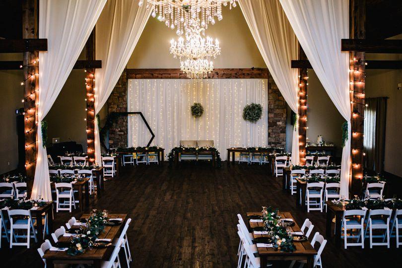 Reception inside barn