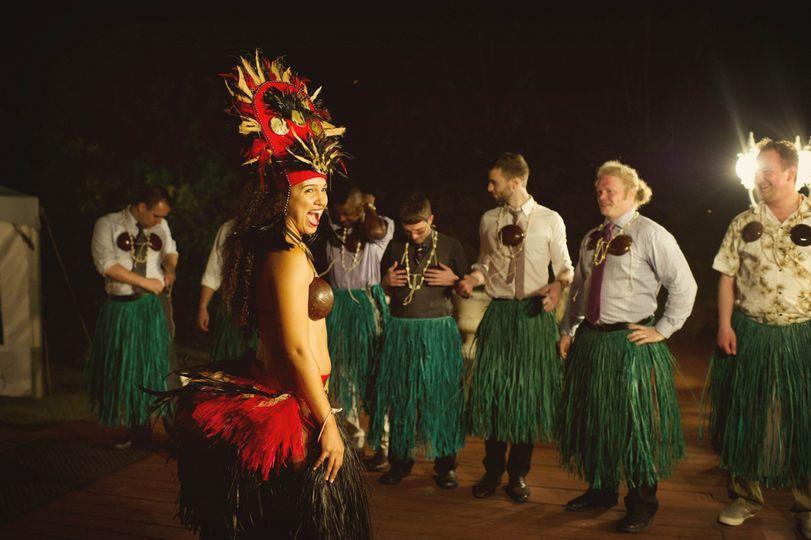 Dance entertainer with the groomsmen