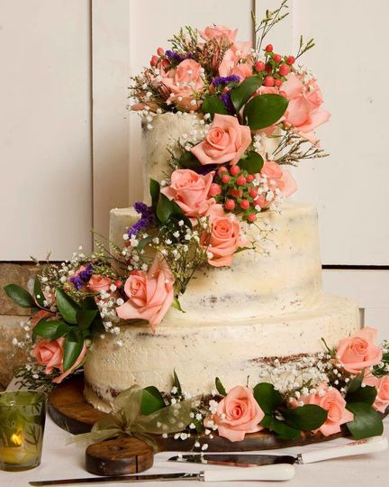 Cascading flowers on a wedding cake