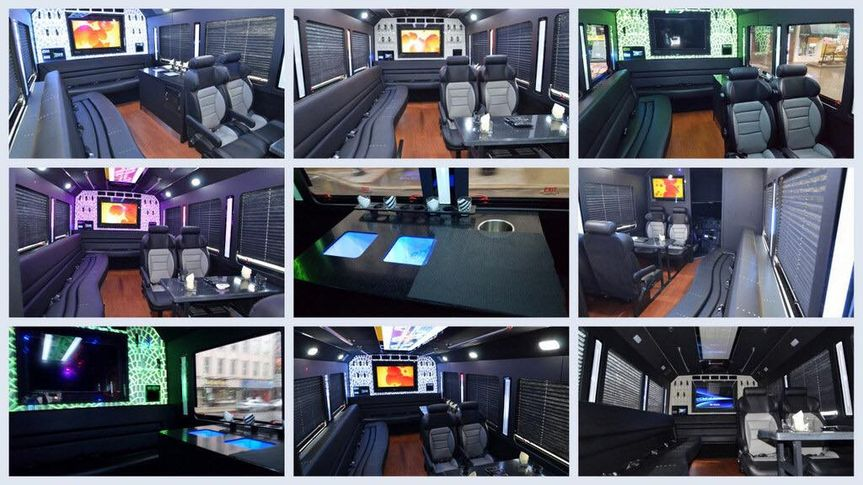 14 pass Limo party bus collage