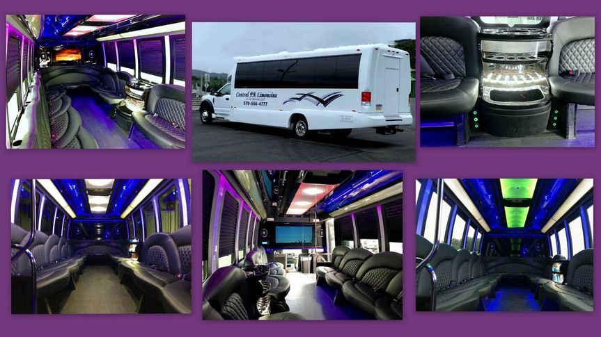 24 pass Limo party bus collage