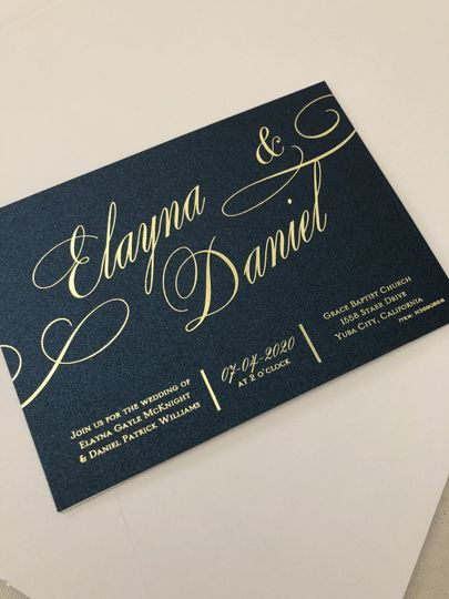 Gold foil on midnight blue