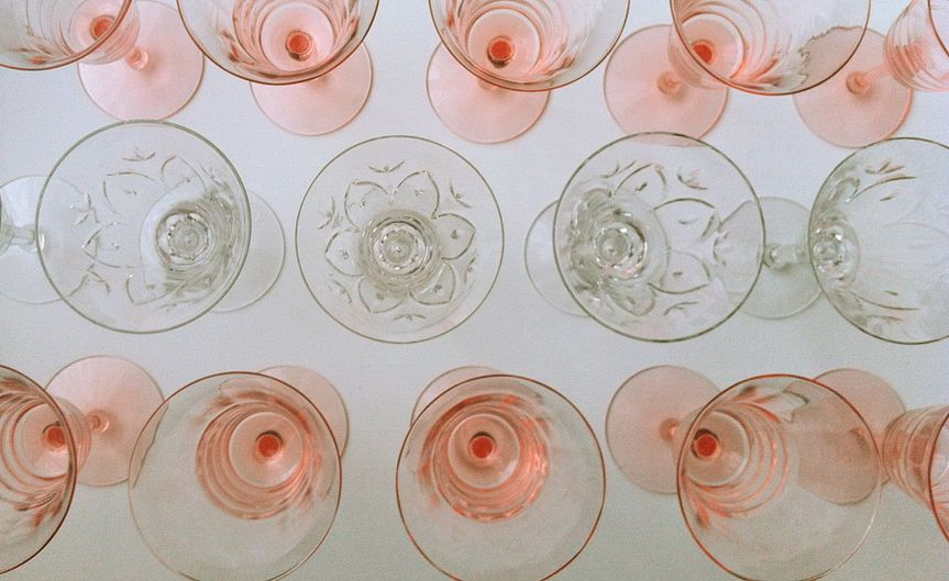 vintage rose pink crystal wine glasses and cut crystal wine glasses available for rent