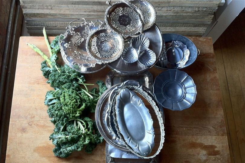 vintage silver serving trays and stands