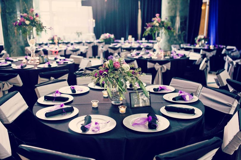 Black tables and pink decor