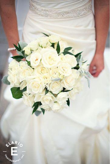 Fresh white wedding bouquet